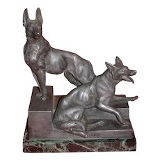 "ART DECO - L. Carvin Metal Sculpture,  German Shepherds (Alsatians) - ""Bonne Garde"""