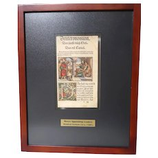 16th Century VERY RARE Deuteronomy - Moses Appointing Leaders - German Hand-colored Woodcut Leaf