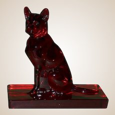 Vintage Rare Ruby Red Limited Edition New Martinsville/Mirror Images Crystal German Shepherd, c 1985