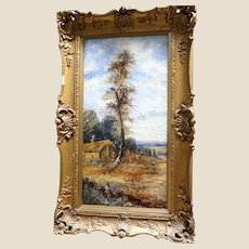 """19th Century English School Oil On Canvas """"The Lookout Tree"""" - Lovely English  Country Landscape, Signed J. Hall"""