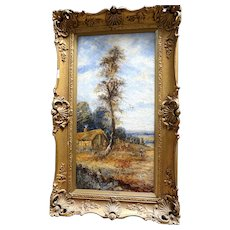 "19th Century English School Oil On Canvas ""The Lookout Tree"" - Lovely English  Country Landscape, Signed J. Hall"