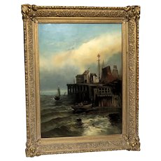 "Magnificent Large 19th Century Original Signed Oil Painting ""Harbor Scene"" - American School, Dated 1891."