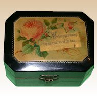 "19th Century Black Lacquer Mauchline Gift Box - ""Happy Returns Of The Day""!"