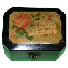 """19th Century Black Lacquer Mauchline Gift Box - """"Happy Returns Of The Day""""!"""