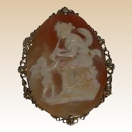 "Huge Mythological Hand-Carved Shell Cameo, ""Euterpe with Angel"" 16K Gold Bezel"