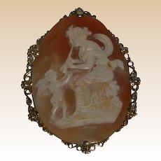 "Huge Mythological Hand-Carved Shell Cameo, ""Euterpe with Angel"" 16K Gold Bezel"