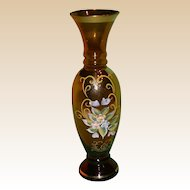 Vintage Bohemian Art Glass Vase, Decorated