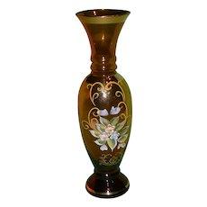 Vintage Bohemian Art Glass Vase, Decorated