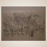 Jean Francois  Raffaelli  hand-signed colored engraving, Paris Street Scene