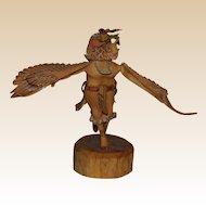 Hand-Carved Hand-Painted Hopi Kachina Eagle Dancer, Signed,