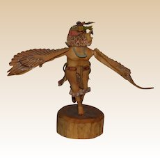 Hand-Carved Hand-Painted Hopi Kachina Eagle Dancer, Signed,