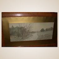 J. Marque, Well-Listed French Artist - Moody and Arresting  Vintage Signed Landscape Watercolor