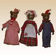 The Three Bears!  Adorable Vintage Three Piece Bear Family!