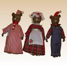 The Three Bears!  Adorable Vintage Three Piece Bear Family!