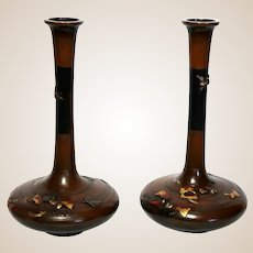 PAIR Meiji Period Signed Japanese Mixed Metal Inlaid Bronze Vases,- Incised In Gold, Silver And Copper; Signed Miyabe Atsuyoshi
