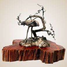 Meiji Period Japanese Inlaid Silver Figure Of A Crane, Outstanding Sculpture.