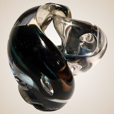 The Whale - Rollin Karg Studio Signed Modern Art Glass Very Rare Paperweight