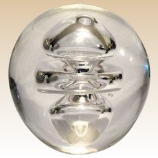 "Large Crystal ""Whirlpool"" Paperweight, Lovely to Look At; Lovely to Hold."