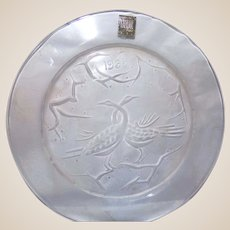 """The First and Rarest!  1965 Lalique Annual Plate """"Deux Oiseaux"""""""
