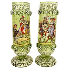 Outstanding Antique Pair Of Enameled Bohemian Glass Footed Vases, Signed