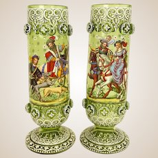 Museum Quality Antique Pair Of Enameled Bohemian Glass Footed Vases, Signed