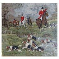 Large Antique Needlepoint Hunt Scene