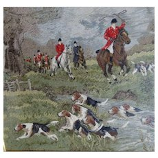 Large Antique Needlepoint Hunt Scene