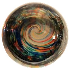 Paperweight With Whirlpool of Colors, Signed/Dated Chris Belleau 1992.