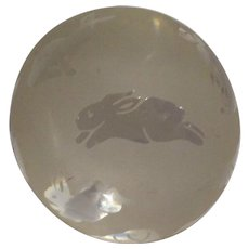 "Clear and Frosted ""Bunnies"" Paperweight, Signed Arthur Court"