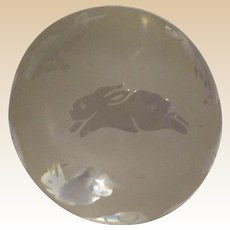 """Clear and Frosted """"Bunnies"""" Paperweight, Signed Arthur Court"""