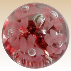Paperweight With Pink Trumpet Flowers Over Crimson Smaller Flowers And Leaves - Signed/Dated