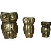 THREE Graduated Sizes Metal Owl Paperweights
