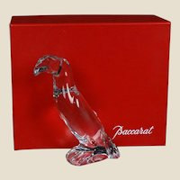 """BACCARAT Signed Crystal Art Glass Sculpture """"Toucan"""" - From France - With Original Box"""