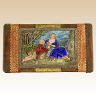 Antique Continental Enamel Plaque Mounted on Leather Covered Wood Box.
