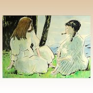 ANDRE CHOCHON French (1910-2005) Original Watercolor On Paper - Girls Seated On The Grass.