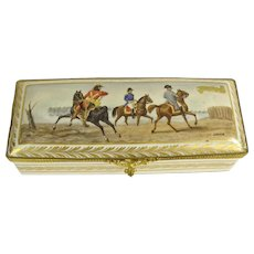 Antique French Porcelain Hand-Painted Glove/Dresser Box; Artist signed Garnier; Makers mark on bottom.