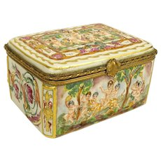 Capodimonte Bronze Mounted Porcelain Box, Italy, Early to Mid 20th Century Italian