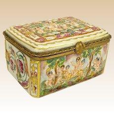 Capodimonte Bronze Mounted Porcelain Box, Italy, Early to Mid 20th Century Italian