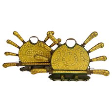 Vintage Indian Hand Painted Wood Cutlery Sets in Holders.