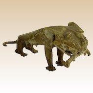 African Tribal Benin Cast Bronze Lion Sculpture