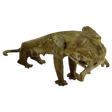 African Tribal Benin Cast Bronze Lion Sculpture
