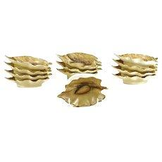 Twelve (12) Limoges Gilt Hand Painted Nut Dishes.