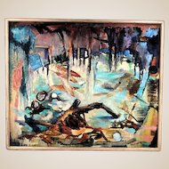 PAUL KATONA, (American, 20th Century) Exciting Original Signed Abstract Gouache