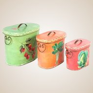 Very Happy Nesting Set Of Three Oval Covered Boxes , Painted With Fruit and Vegetables