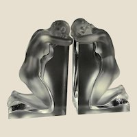 """Pair Lalique """"Reverie"""" Signed Nude Crystal Bookends, Listed"""