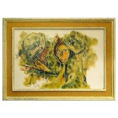"CALVIN W. BURNETT, Russian-American (1921-1977) Oil on Canvas, ""Three Girls""."