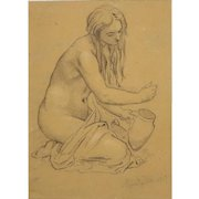 """MORITZ MULLER THE YOUNGER, German (1868-1934) Original Pencil Drawing on Paper """"Female Nude,"""" Signed and Dated 1903."""