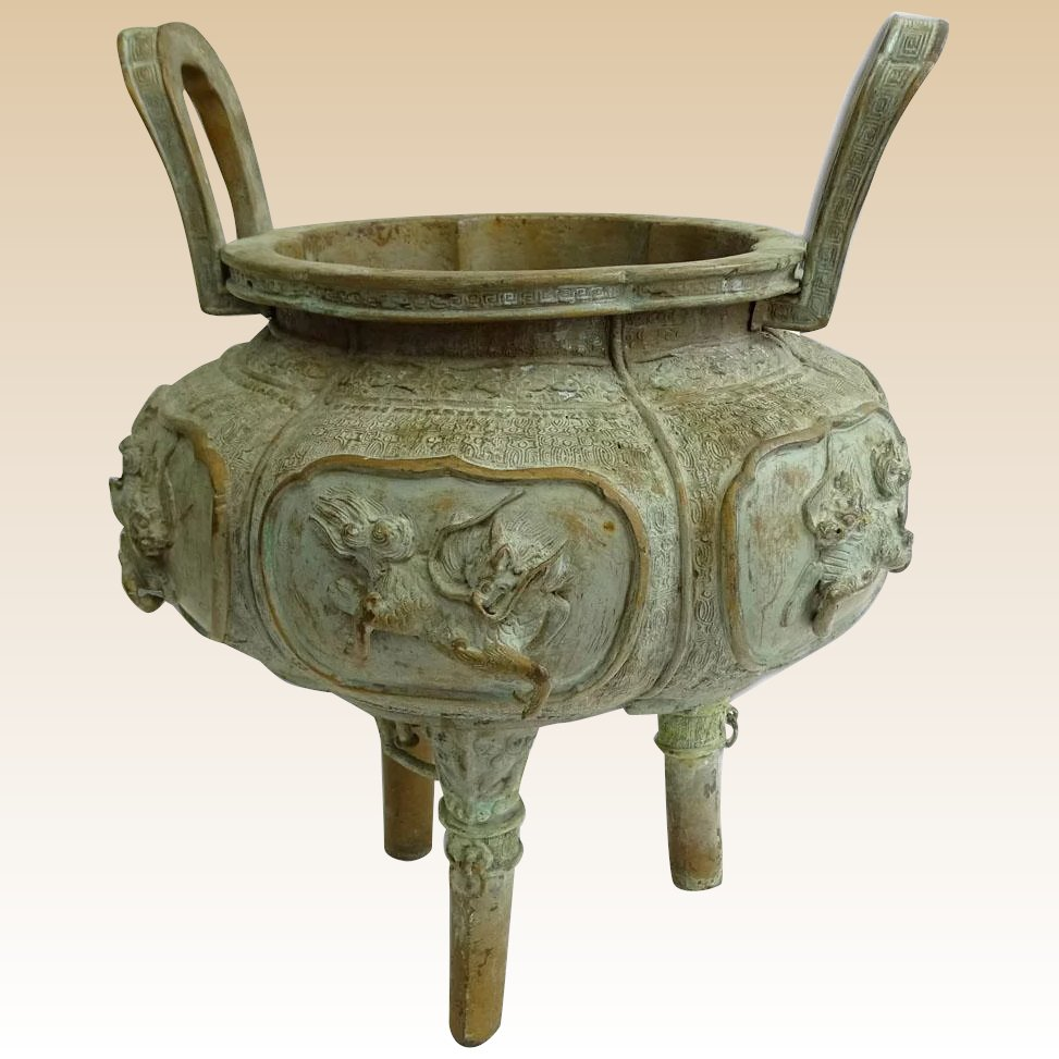 Antiques Collectibles: Antique Chinese Bronze Censer, With Mythical Beasts In