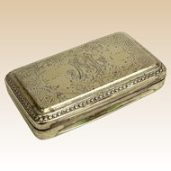 Antique Sterling Silver Snuff Box.