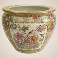 "Chinese Hand-Painted Famille Rose ""Goldfish Bowl"" Jardiniere, So Beautiful and Colorful!"